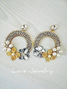 Náušnice - Náušnice kruhy s kvetinkami - 11118585_