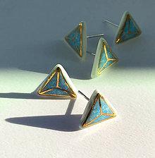 Náušnice - Tyrkysove trojuholníky. - 11118458_