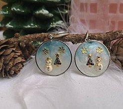 Náušnice - Vianočné náušnice visiace so snehuliakmi a stromčekami, striebro Ag - 11119242_