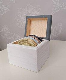 Úžitkový textil - Háčkované odličovacie tampóny v krabičke (antracitová) - 11120417_