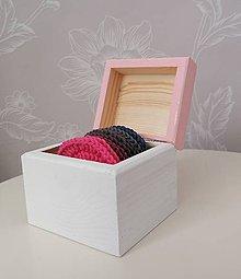 Úžitkový textil - Háčkované odličovacie tampóny v krabičke (ružová) - 11120449_