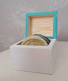 Úžitkový textil - Háčkované odličovacie tampóny v krabičke (tyrkysová) - 11120490_