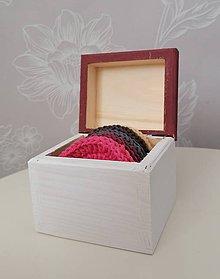 Úžitkový textil - Háčkované odličovacie tampóny v krabičke (bordová) - 11120496_