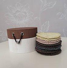 Úžitkový textil - Háčkované odličovacie tampóny v okrúhlej krabičke (hnedá) - 11120526_