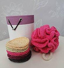 Úžitkový textil - Háčkované odličovacie tampóny a špongia v okrúhlej krabičke  (fialová) - 11120549_