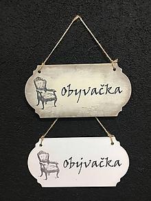 """Dekorácie - Tabuľka """" Obývačka  """" kreslo - 11120710_"""