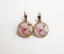 Náušnice - Živicové náušnice - Vintage ruže (starobronz) - 11120493_
