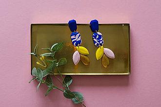 Náušnice - Visiace náušnice dlhé - modrá a žltá - 11122124_