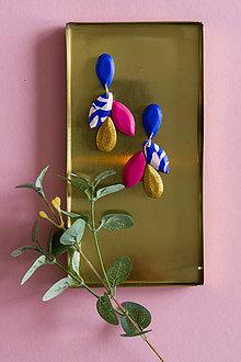 Náušnice - Visiace náušnice krátke - modrá a magenta - 11122158_