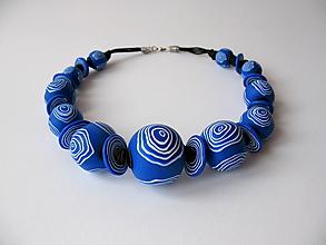 Náhrdelníky - ,,Modrý počmáraný,, - 11120503_