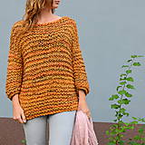 Svetre/Pulóvre - pletený sveter FREE okrový melír - 11121015_