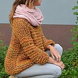 Svetre/Pulóvre - pletený sveter FREE okrový melír - 11121017_