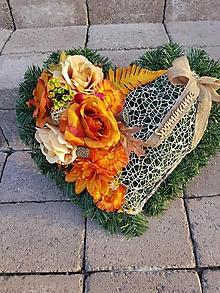 Dekorácie - srdce na hrob jesenné 42  cm - 11121318_