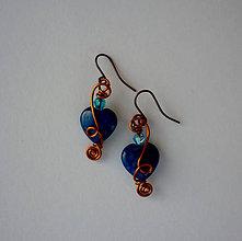 Náušnice - Mramorové srdiečka - náušnice (Modrá) - 11121761_