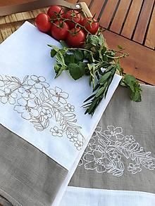 Úžitkový textil - Set dvoch ľanových utierok s výšivkou - 11122152_