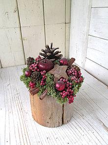 Dekorácie - vianočná dekorácia na pníčku - 11121654_