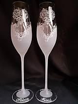 Nádoby - Svadobné poháre šampus, vzor čipka - 11121532_