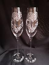 Nádoby - Svadobné poháre šampus,vzor čipka - 11121561_