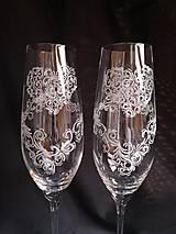 Nádoby - Svadobné poháre šampus,vzor čipka - 11121563_