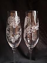 Nádoby - Svadobné poháre šampus,vzor čipka - 11121566_