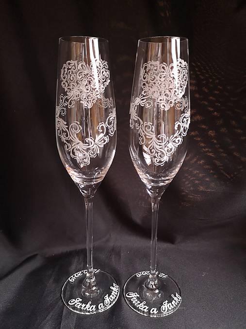 Svadobné poháre šampus,vzor čipka