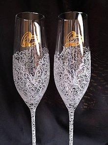 Nádoby - Svadobné poháre šampus fletny, vzor čipka - 11121614_