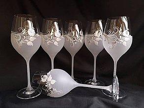 Nádoby - Súprava pohárov na vínko s folklórnym motívom - 11121838_