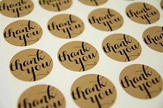 Papier - Nálepka thank you (sada 12 ks) - 11119747_