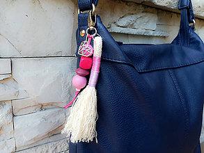Kľúčenky - Prívesok rúžový - srdiečko - 11120838_