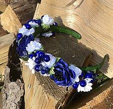 Ozdoby do vlasov - Kvetinová čelenka do vlasov v modrom - 11120688_