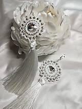 Náušnice - Náušnice so strapcami bielo-strieborné - 11122101_