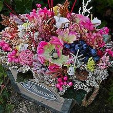 Dekorácie - Podzimní dekorace - Bedýnka s vínkem - 11121651_