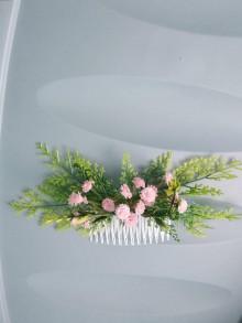 Ozdoby do vlasov - Ružová víla hrebienok - 11120150_