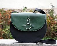 Kabelky - Ručně šitá kožená kabelka Emerald - 11121667_