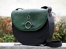 Kabelky - Ručně šitá kožená kabelka Emerald - 11121668_