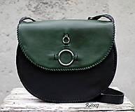 Kabelky - Ručně šitá kožená kabelka Emerald - 11121671_