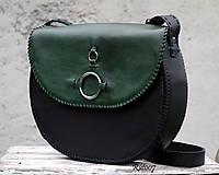 Kabelky - Ručně šitá kožená kabelka Emerald - 11121673_