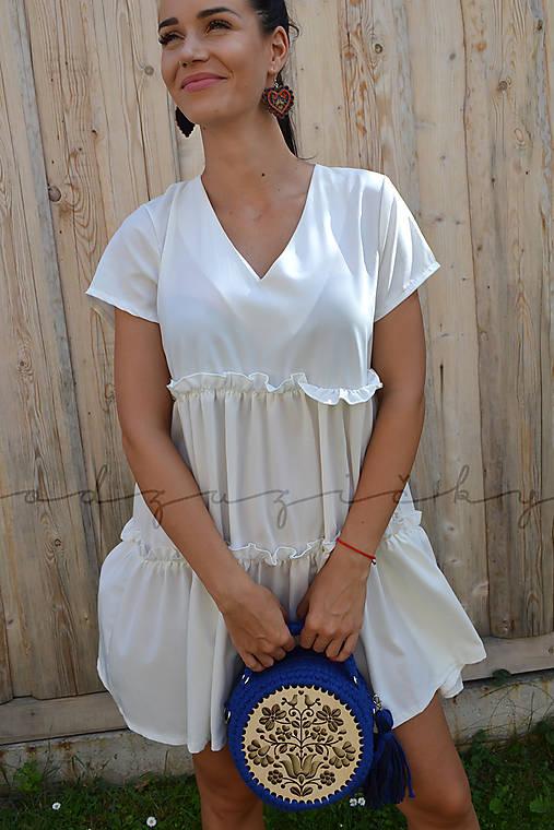 Drevená kabelka hačkovaná Dorka  (cca 16 cm - Modrá)