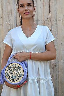 Kabelky - Drevená kabelka hačkovaná Dorka  (cca 16 cm - Fialová) - 11122376_