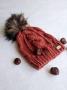 Detské čiapky - Čiapka s osmičkami a brmbolcom, terakota - 11120944_