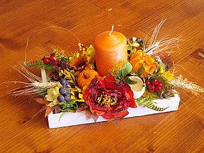 Dekorácie - Jesenný svietnik so sviečkou - 11121132_