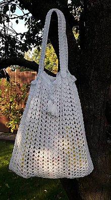 Nákupné tašky - háčkovaná sieťovka - biela - 11121666_