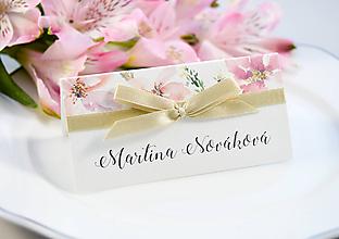 Papiernictvo - Svadobné menovky Elise s mašľou - 11126494_