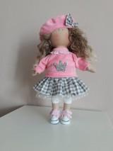 Bábiky - Ružovo-šedá bábika - 11125718_