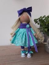 Bábiky - Fialovo-mentolová bábika - 11125730_