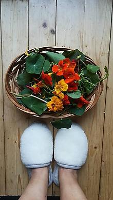Obuv - VLNIENKA barefoot papuče na doma 100% ovčia vlna MERINO BARANČEK NATURAL šedá lemovka - 11123859_