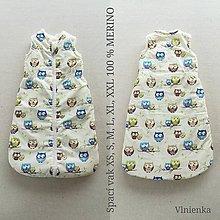 Textil - RUNO SHOP Spací vak pre deti a bábätká ZIMNÝ 100% MERINO na mieru SOVIČKA - 11124060_