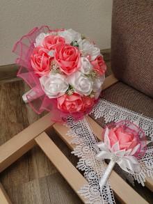 Kytice pre nevestu - Svadobná kytica s ružami (ružová) - 11123906_