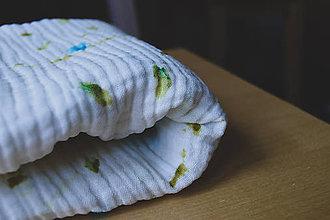 Textil - Mušelínová dečka s ručne maľovaným vzorom - bodky - 11124177_
