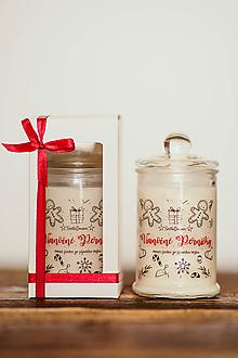 Svietidlá a sviečky - Sviečka zo sójového vosku v skle - Vianočné Perníčky 125g/30hod (darčekové balenie) - 11122809_